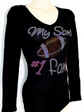 RHINESTONE FOOTBALL MOM  SON  #1 FAN JUNIOR V NECK SHIRT NEW TOP M L XL 2XL 3XL