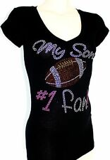 RHINESTONE FOOTBALL MOM SON'S #1 FAN JUNIOR SHEER V NECK  L XL 2XL 3XL SHIRT NEW
