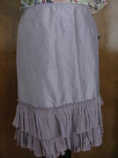 Eileen Fisher Icy Plum Silk Ruffled Tiered Women's Skirt Small,Large $158