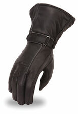 Ladies Waterproof Motorcycle Gauntlet Glove Reflective Piping, Gel Palm FI119GEL