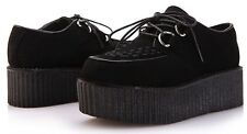 Womens Faux Suede Lace Up Punk Goth Platform Wedge Heels Flat Creeper Shoes AU