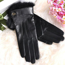 Lady's Soft Nappa Leather Gloves rabbit fur cuff Cashmere Lined Gold Plated logo