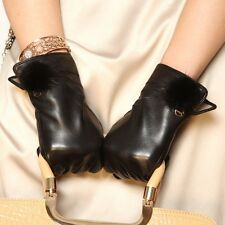 Lady Genuine Nappa leather Gloves with mink fur Cashmere Lining Gold Plated Logo