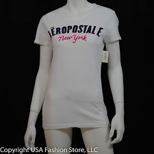 Aeropostale Women Short Sleeve - New York Patch Graphic White NWT