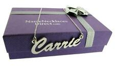 925 STERLING SILVER CARRIE PERSONALISED JEWELLERY ANY NAME DROP NECKLACE & CHAIN
