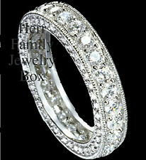 14k White Gold .925 Platinum Antique Eternity Ring Wedding Anniversary Band