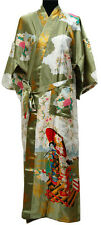 Chinese Red Women's Silk Robe Kimono Gown nighty clothes .one size GREEN