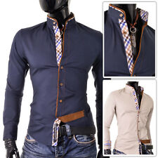 Stylish Casual Formal Double Cuffs Mens Check Shirt Slim Fit Cotton White DR