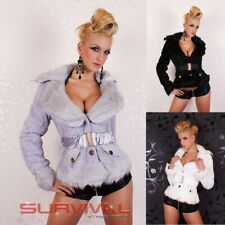 NEW SEXY WOMENS SIZE 6 8 10 12 HOT JACKET FUR COAT OUTERWEAR WHITE BLACK GREY
