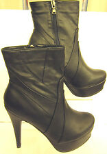 Ladies Black high heel and platform ankle boot inside zip ( COCO L8629)