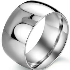 12MM Width Big Titanium Men's Ring Band Size 7 to 13 Wedding Stainless Steel NEW