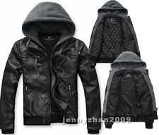 Fashion Casual Black Men's Slim Fit PU/Faux leather Cotton Hooded Jacket Coat
