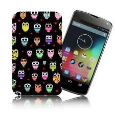 'OWLS'  Retro Case for GOOGLE NEXUS 4 Tribal Vintage Neoprene Pouch Cover UK (L)