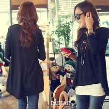 Womens fashion Black Loose Asymmetric hem long sleeve Tunic T-shirt Tops B420