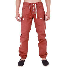 MENS CHINO CUFFED JOGGER JEANS CRUISE RED 28 30 32 34 36 38 40