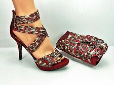 Shoes and matching bag red leopard satin peep toe handbag with bow detail Superb
