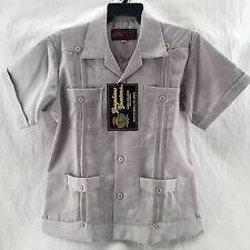 SIZE 6,8,10,12,14 BOYS TRADITIONAL POLYESTER MEXICAN GUAYABERA COLOR LIGHT GREY