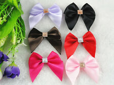 50/150PC Ribbon Bows Flower the Rhinestone Appliques Sewing Craft Lots Upick