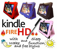 for AMAZON KINDLE FIRE * HD * LEATHER CASE COVER STAND &  SLEEP / WAKE FUNCTION