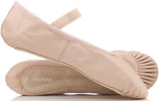 proVora PINK Leather Ballet Shoes PRE SEWN Elastics! Child's & Adult's Sizes NEW