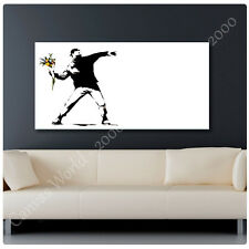 HUGE BANKSY FLOWER THROWER ALL SIZE CANVAS Print Picture PHOTO GICLEE Art DECOR