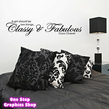 CLASSY & FABULOUS WALL ART QUOTE STICKER 60CM -  COCO CHANEL BEDROOM  LOVE DECAL