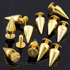 LOT DIY 14mm Gold Cone Screw Metal Studs Leathercraft Rivet Bullet Spikes PUNK