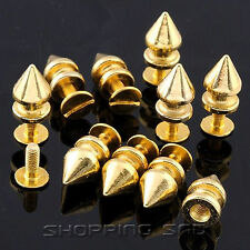 Tree Spikes Studs DIY 12mm Gold Metal Leathercraft Rivet Screw Spots Punk Rock