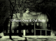 Old Barn in Night Scene Original Handmade Signed Matted Picture Art Print A237