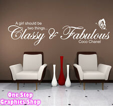 CLASSY & FABULOUS LARGE WALL ART QUOTE STICKER -  COCO CHANEL BEDROOM DECAL