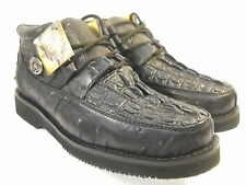 new black CROCIDILE ALIGATOR OSTRICH PRINT CASUAL SHOE 100%l eather **ALL SIZES