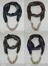 Infinity Leopard Animal Print Jewelry Scarf Faux Pearl Beads Cotton Charm