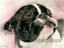 French Bulldog Frenchie Dog Art Print of Watercolor Painting Judith Stein Signed