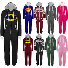 Womens Mens Super Hero Superman Batman All In One Piece Onesie Playsuit Jumpsuit