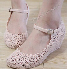 Fashion Women's Soft Jelly Rubber Flowers Wedge Heel Sandal Round Toe Shoes H07