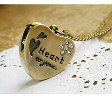 Vintage Antique Pocket Watch Necklace Heart Unusual Rare Gift for Her Him Men UK