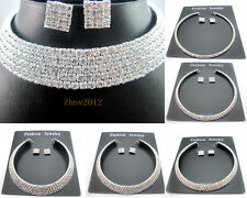 New Sparkling Diamante SWAROVSKI Crystal Choker Necklace /Earrings Wedding Prom