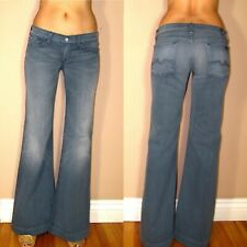 Seven 7 For All Mankind Ginger Flare Wide Leg Trousers Jeans Peru Bluish Gray 25