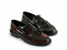 Ikon SELECTA Mens MOD Ska Skinhead Polished Leather Tassle Loafers Oxblood/Black