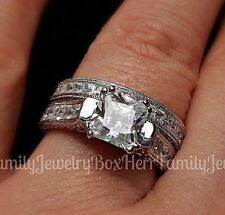 5.5ct Platinum 925 Sterling Silver 8mm Princess Cut Engagement Ring Wedding Set