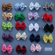 2 x Double Satin Bow Hair clips for Girls or Baby - you choose both colours!