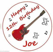 Red Electric Guitar Birthday Topper Personalised Icing Cake Topper Decoration