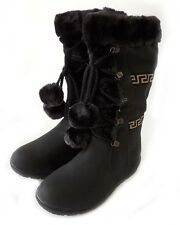 NEW WOMEN POM POM LACE UP FUR LINED FLAT HEEL WINTER BOOTS COCO-01 / BLACK