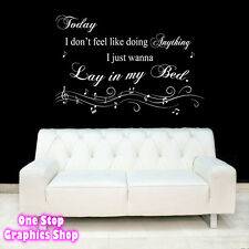BRUNO MARS LAZY SONG WALL ART QUOTE STICKER -  LOUNGE BEDROOM LYRICS LOVE DECAL