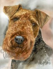 Welsh Terrier Dog Art Print of Watercolor Painting Judith Stein Signed WELSHIE