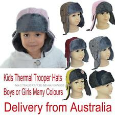 Kids Boy Girl Faux Fur Ear Flaps Aviator Winter Skiing Russian Cap Trooper Hat