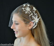 Bandeau 70 Veil Set w/ SILVER  RHINESTONE HAIR COMB & Ivory or White Birdcage