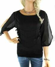 Ladies Evening Top With Beads Women's Size Black Apparel Chiffon Sleeves Blouse