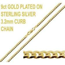 """9K GOLD PLATED ON 925 SILVER 16 18 20 22 24 26 28 30"""" INCH CURB CHAIN NECKLACE"""