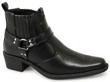 US Brass EASTWOOD Mens Soft Harness Embroidered Ankle Western Cowboy Boots Black